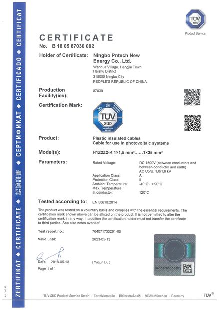 Porcellana Ningbo Pntech New Energy Co., Ltd. Certificazioni
